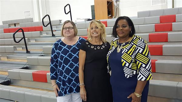 FROM LEFT TO RIGHT:  Kimberly Riddick-Volunteer of the Year  Mae Rose-Teacher of the Year  Robin Boo