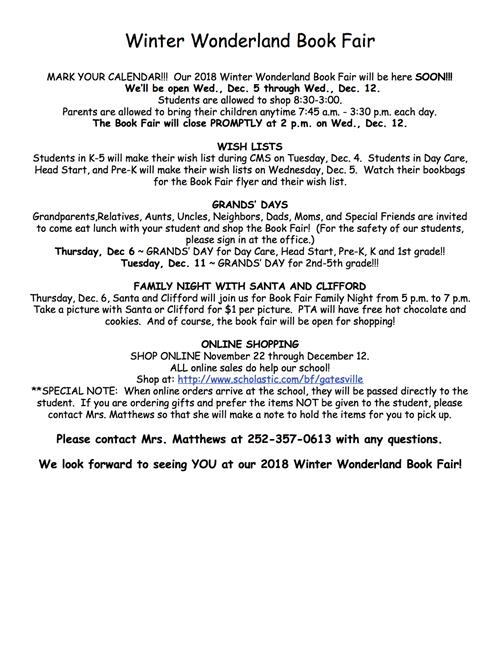 Winter Book Fair Information